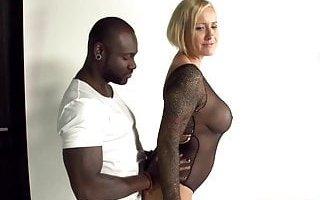 Black Monster Dick vs Blond hot MILF amateur sex video