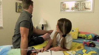 Daddy helps daughter