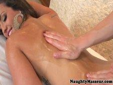 Massage babe assfucked doggystyle by masseur