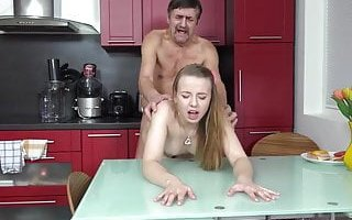 Old grandpa Goes Young – Steamy sex in the kitchen between young