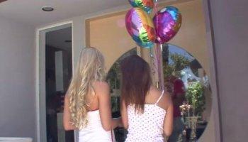 Teenage girls next door want a threesome