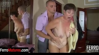 Wet mature gal caught after taking a shower and banged by a sex-crazed stud